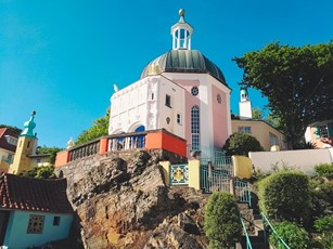 Pink building in Portmeirion Wales