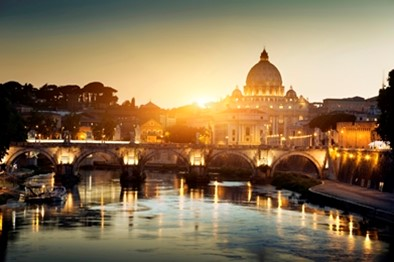 View of the Vatican city in Rome at sunset