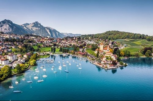 Swiss lakeside town with mountains in distance
