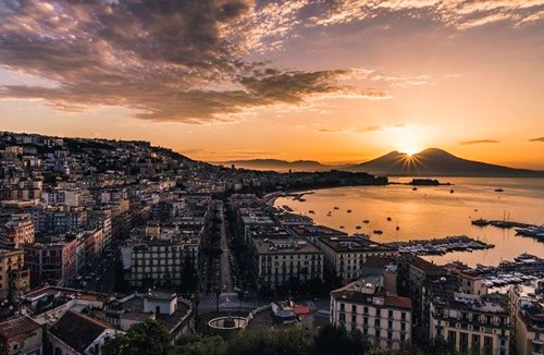 Naples cityscape at sunset