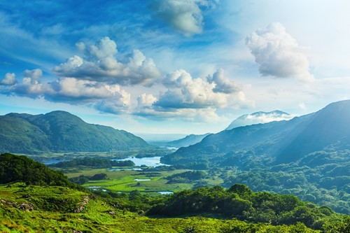 A view of the green hills in Killarney, Ireland